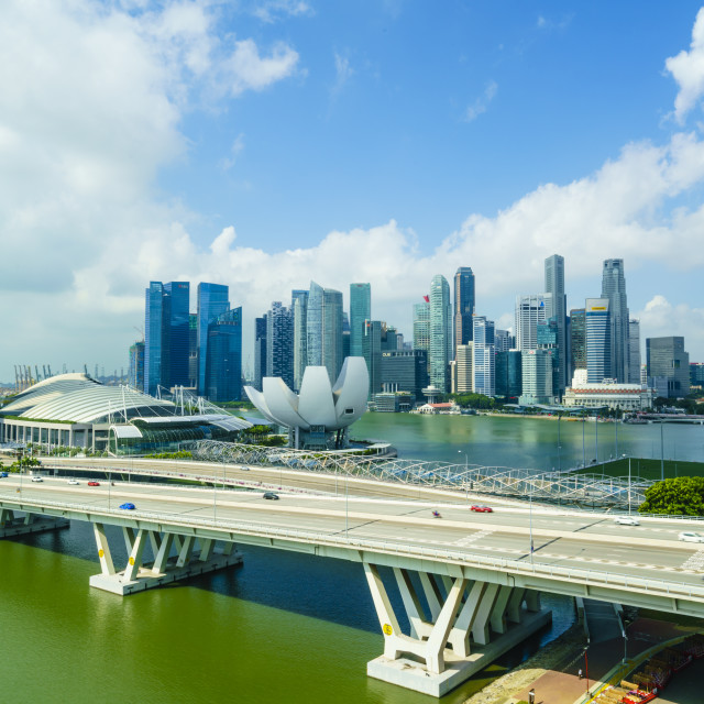 """Busy roads leading to the Marina Bay Sands, Gardens by the Bay and ArtScience..."" stock image"