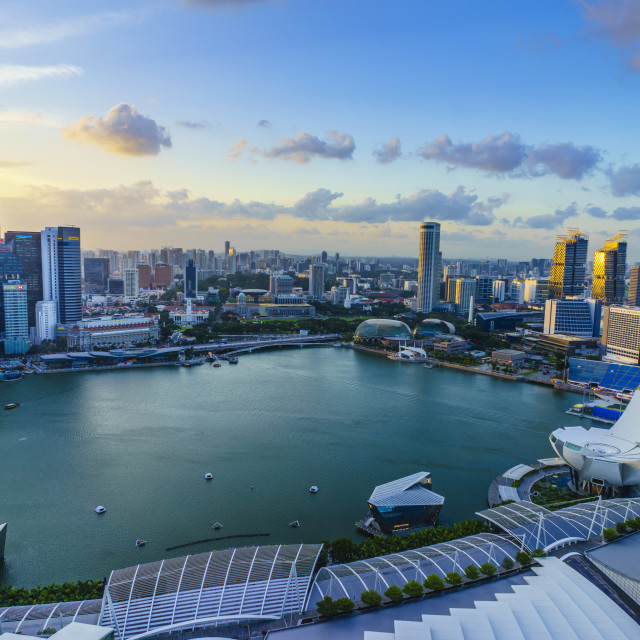 """The towers of the Central Business District and Marina Bay at sunset,..."" stock image"