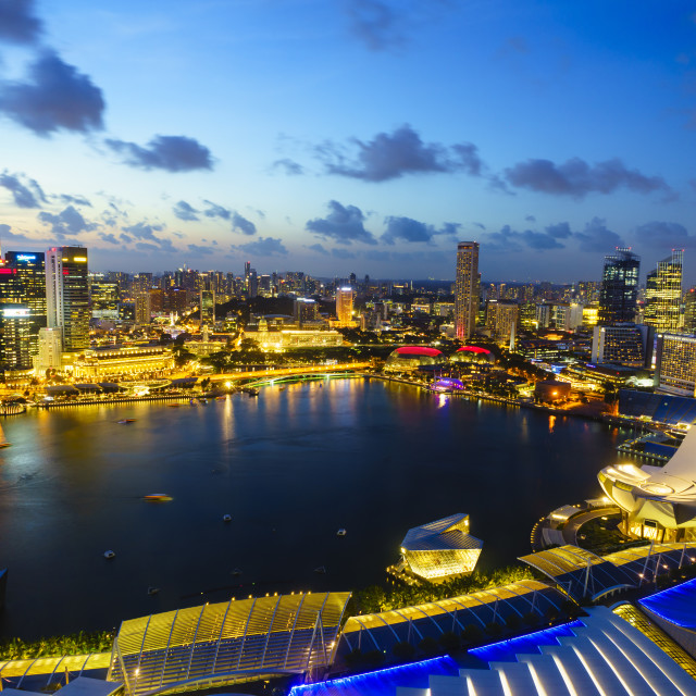 """The towers of the Central Business District and Marina Bay at dusk,..."" stock image"