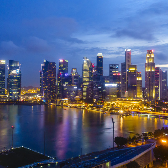 """The towers of the Central Business District and Marina Bay by night,..."" stock image"