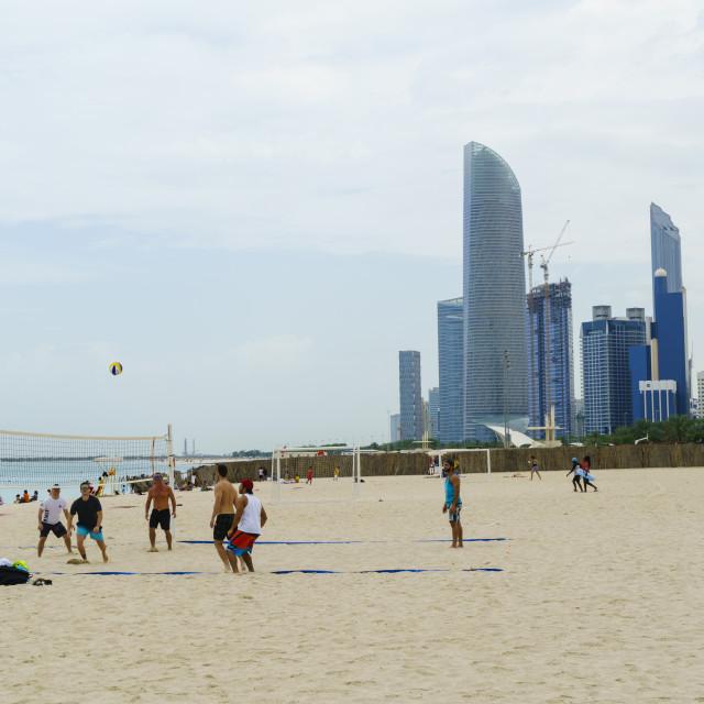 """Corniche beach, Abu Dhabi, United Arab Emirates, Middle East"" stock image"