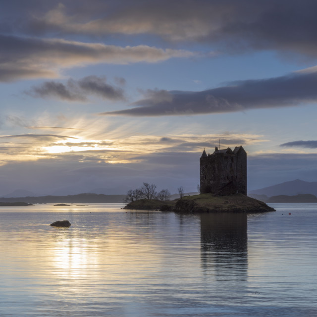 """""""Mid-winter sunset over Loch Linnhe and Castle Stalker in February 2016."""" stock image"""