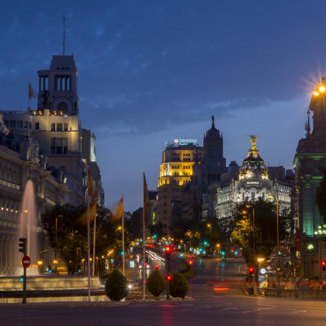 """""""Calle de Alcala, Plaza de Cibeles"""" stock image"""