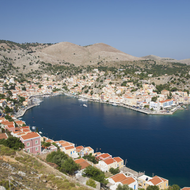 """""""View over the harbour from hillside, Gialos (Yialos), Symi (Simi), Rhodes,..."""" stock image"""