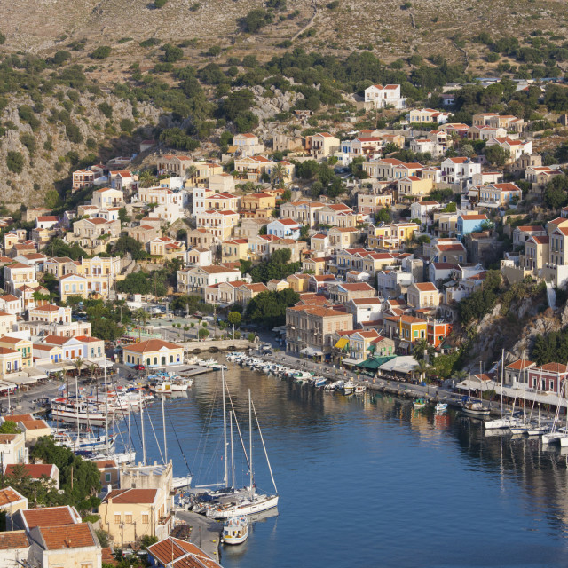 """""""View over the colourful harbour, Gialos (Yialos), Symi (Simi), Rhodes,..."""" stock image"""