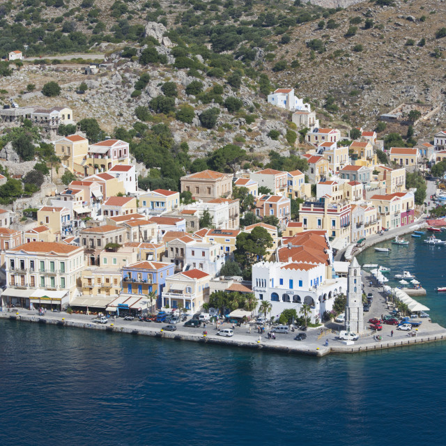 """""""View over the picturesque waterfront, Gialos (Yialos), Symi (Simi), Rhodes,..."""" stock image"""
