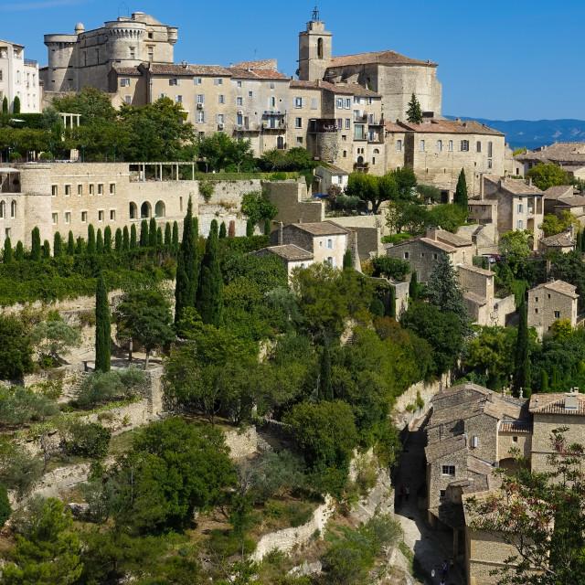 """Hilltop village of Gordes, Vaucluse, Provence, France, Europe"" stock image"