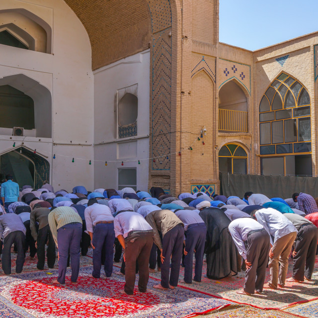 """Men praying, Men's Section, Jameh Mosque, Varzaneh, Iran"" stock image"