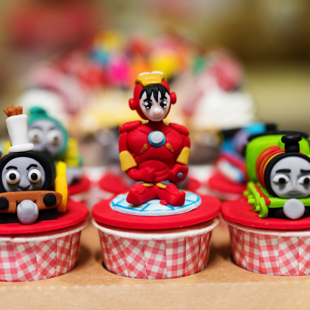 """cupcake with famous cartoon movie models"" stock image"
