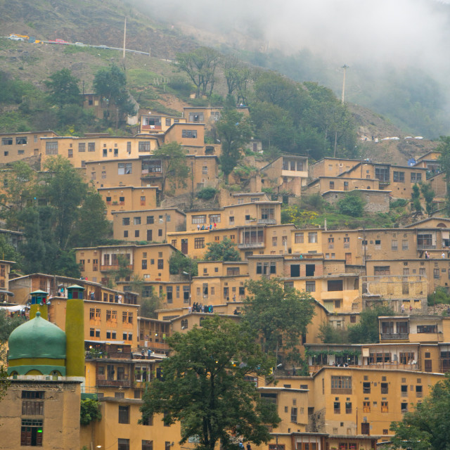 """Mountain side, terraced town, Masuleh, Iran"" stock image"