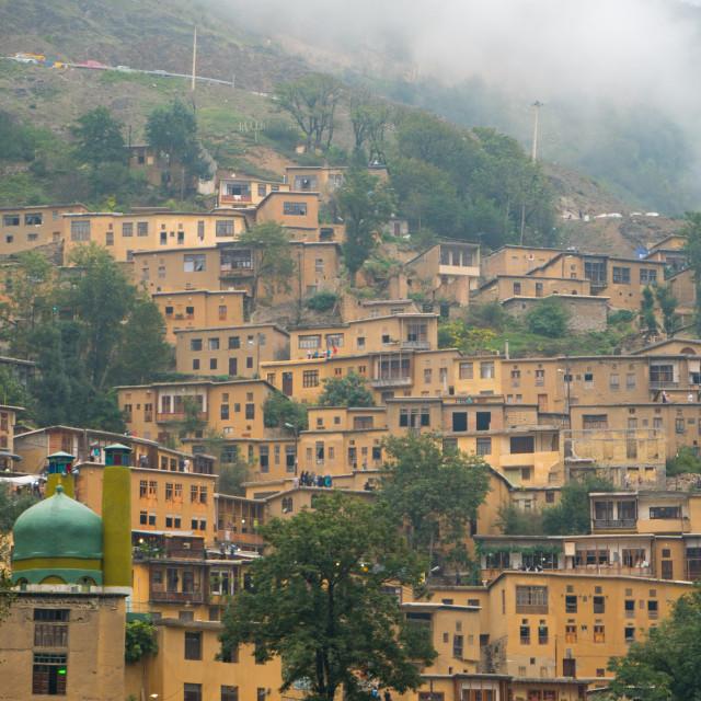 """Mountain side, terraced town, Masuleh, Iran"" stock image"
