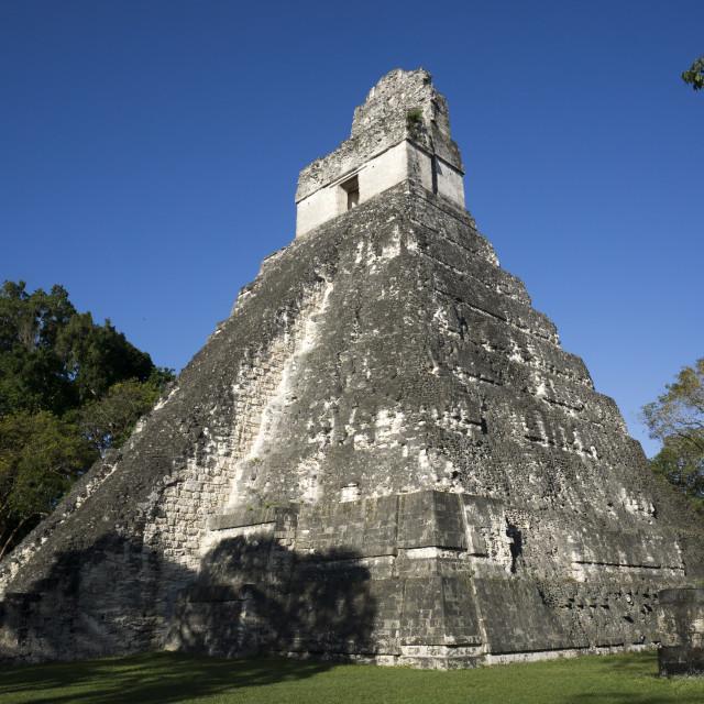 """Tikal temple 1, Pre-Columbian Maya civilisation"" stock image"