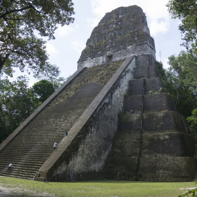 """Tikal Temple 5, pre-Colombian Maya civilisation"" stock image"
