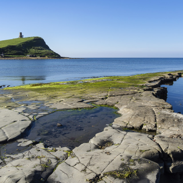 """Rock Ledges and Clavell Tower in Kimmeridge Bay, Isle of Purbeck, Jurassic..."" stock image"
