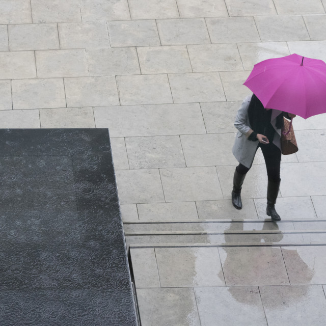 """Woman with umbrella and mobile phone walking up steps to Auckland Art..."" stock image"