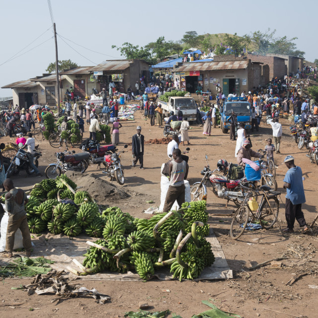 """""""Market day at a trading post. Fort Portal area. Uganda."""" stock image"""