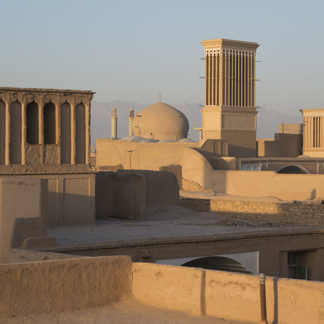 """Old City skyline with bagdirs windtowers. Yazd. Iran."" stock image"