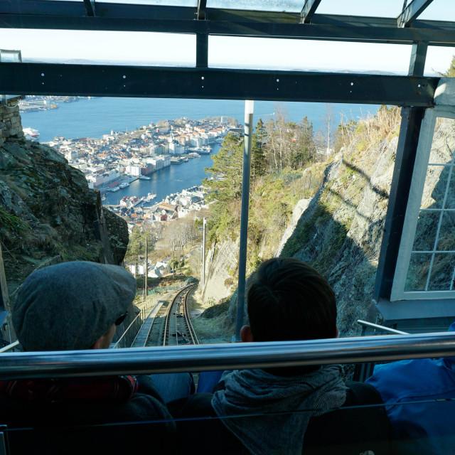 """Floibanen funicular railway with view of Bergen from Mount Floyen, Bergen,..."" stock image"