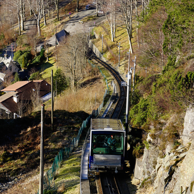 """Floibanen funicular railway with view of Bergen from Mount Floyen, Bergen,..."" stock image"