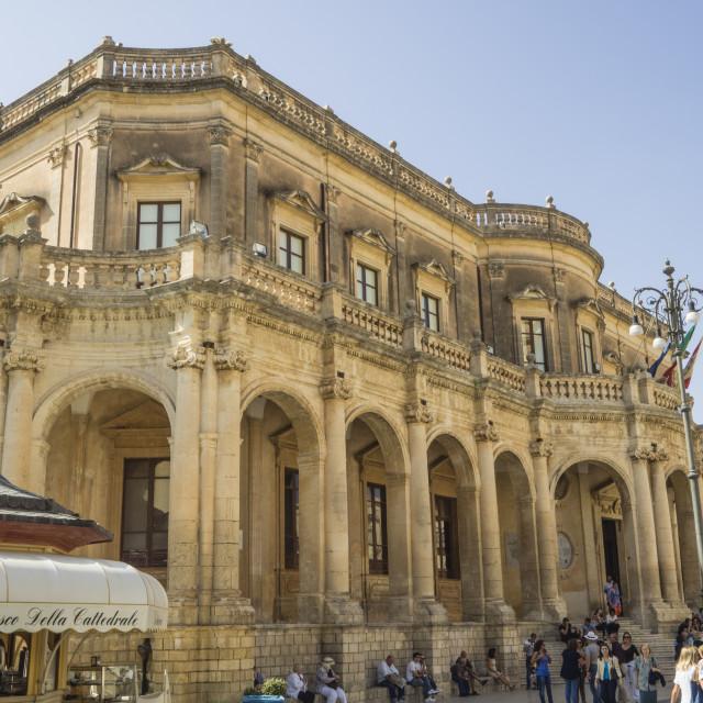 """Palazzo Ducezio (Town Hall), Noto, Sicily, Europe"" stock image"