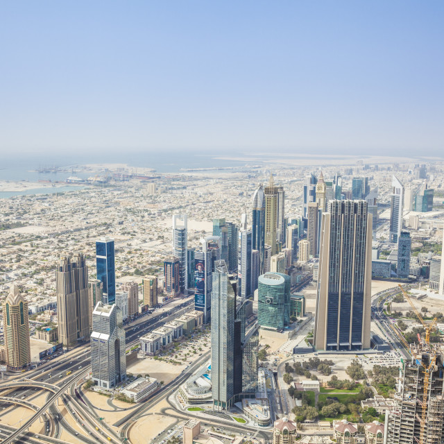 """View of Sheikh Zayed Road and Dubai skyline, Dubai City, United Arab..."" stock image"
