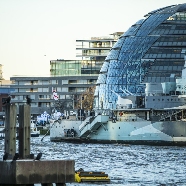 """City Hall and HMS Belfast"" stock image"