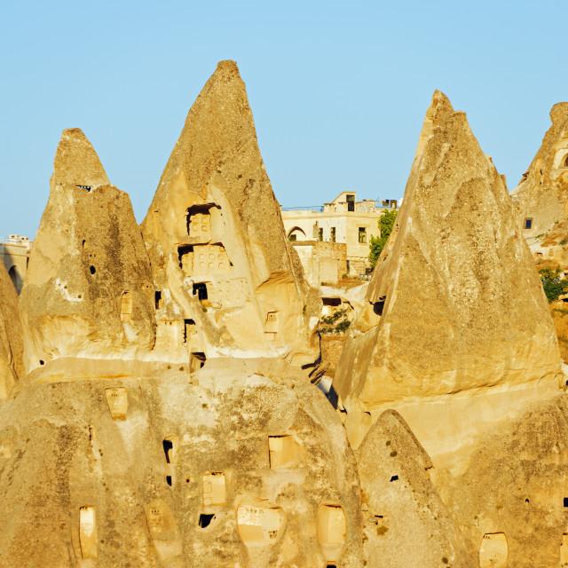 """""""Turkey, Central Anatolia, Cappadocia, rockcut topography at Uchisar, Unesco..."""" stock image"""