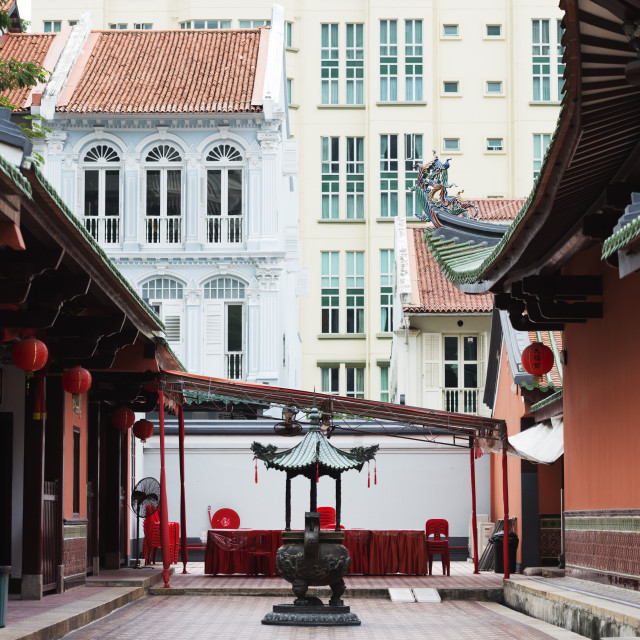"""South East Asia, Singapore, Chinatown, Thian Hock Keng Temple,"" stock image"