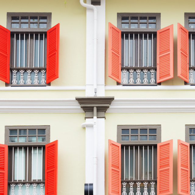 """South East Asia, Singapore, shutters on colonial building"" stock image"