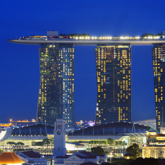 """South East Asia, Singapore, Clarke Quay and Marina Bay Sands Hotel and Casino"" stock image"