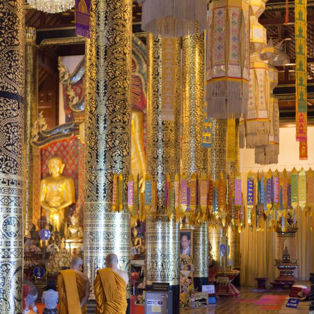 """South East Asia, Thailand, Chiang Mai, monks at Wat Chedi Luang Worawihan temple"" stock image"