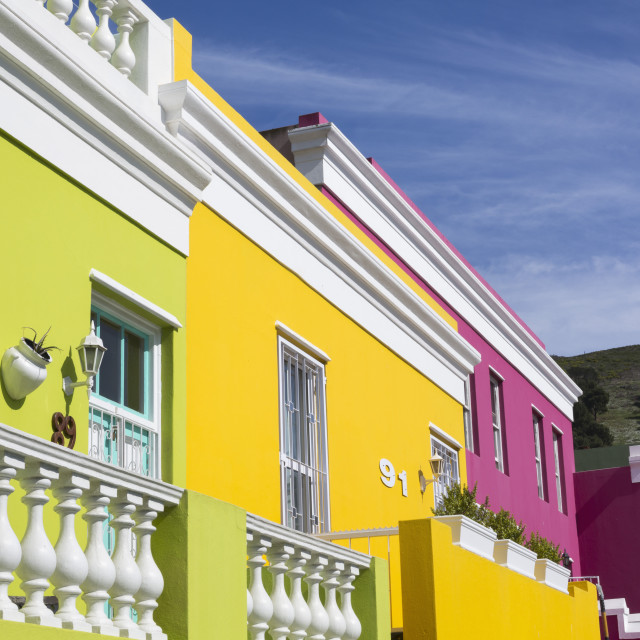 """""""Colourful cottages, Bo Kaap Cape Malay district, Cape Town, South Africa"""" stock image"""