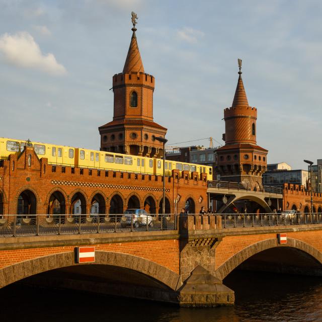 """View over Oberbaum bridge (Oberbaumbrucke) Friedrichshain/ Kreuzberg, Berlin,..."" stock image"