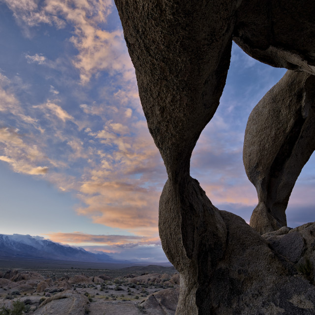 """""""Sunset through Cyclops' Skull Arch, Alabama Hills, Inyo National Forest,..."""" stock image"""