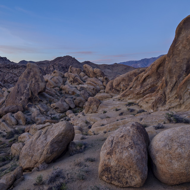 """""""Boulders and granite hills, Alabama Hills, Inyo National Forest, California,..."""" stock image"""