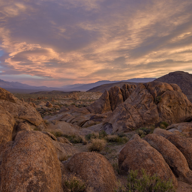 """""""Clouds at dawn over the rock formations, Alabama Hills, Inyo National Forest,..."""" stock image"""
