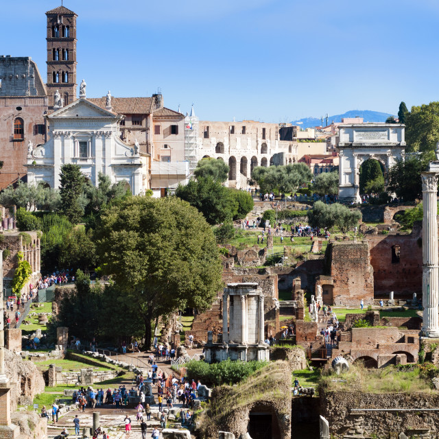 """Roman Forum with temple of Castor and Pollux, Rome, Unesco World Heritage..."" stock image"