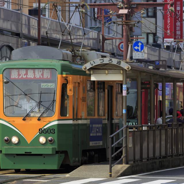 """Tram, Izuro Street, Kagoshima City, Kyushu Island, Japan, Asia"" stock image"