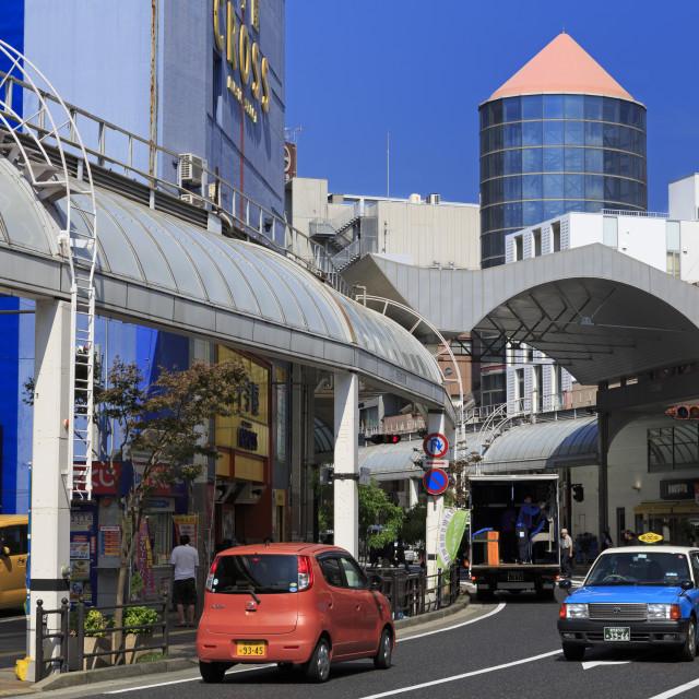 """Terukuni Street, Kagoshima City, Kyushu Island, Japan, Asia"" stock image"
