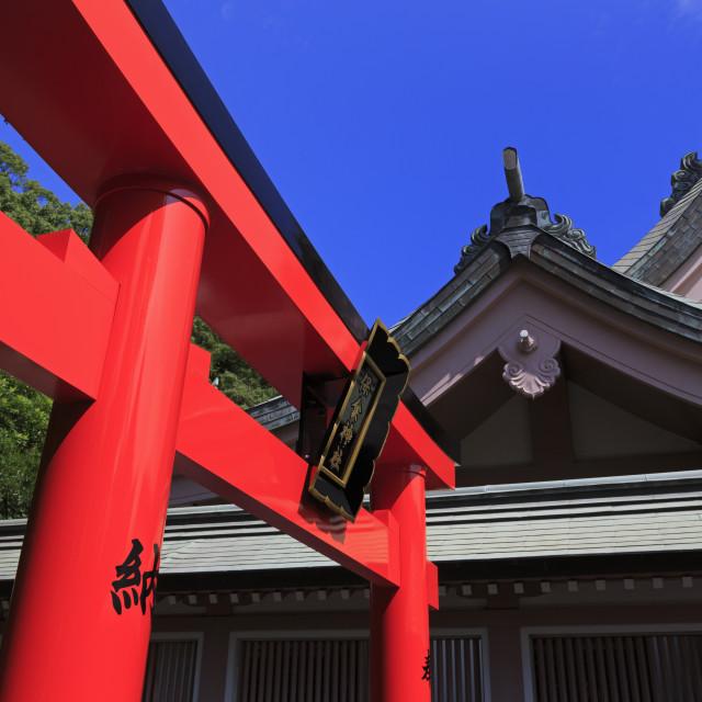 """Tori Gate, Terukuni Shrine, Kagoshima City, Kyushu Island, Japan, Asia"" stock image"