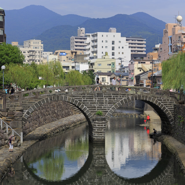 """Spectacles Bridge, Nakashima River, Nagasaki, Kyushu Island, Japan, asia"" stock image"