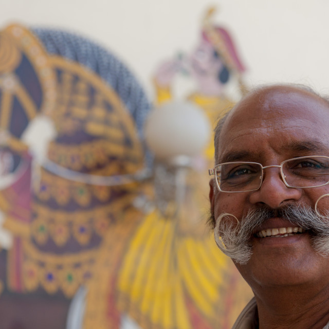 """""""Guard in City Palace, Udaipur, with fine curly moustache"""" stock image"""