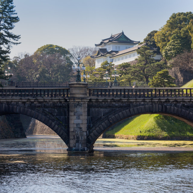 """Bridge and the historic Imperial Palace, Tokyo, Japan, Asia"" stock image"