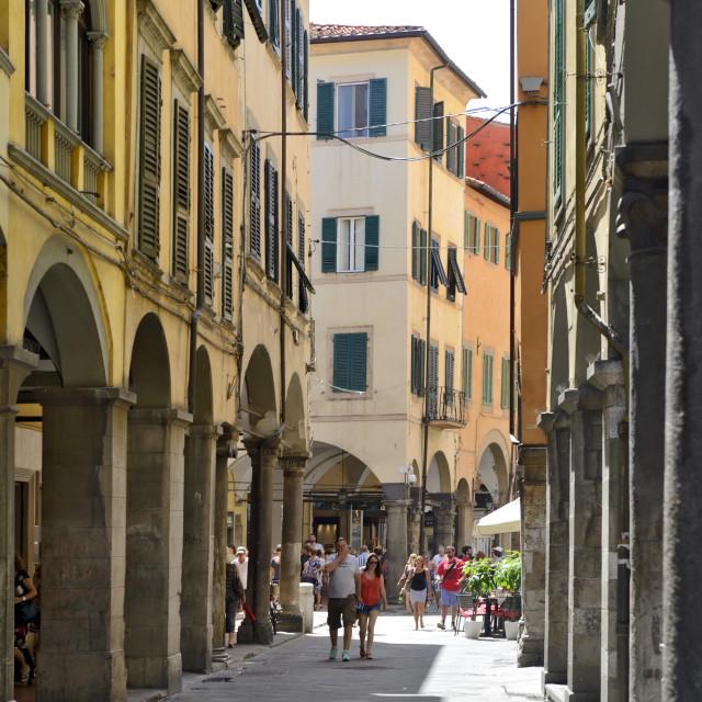 """""""Portico, (covered walkway), Borgo Stretto, Pisa, Toscana, Tuscany, Italy, Europe"""" stock image"""