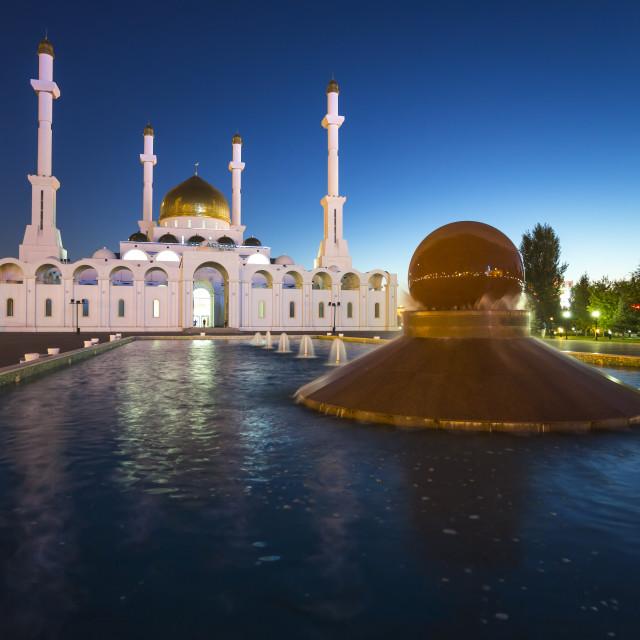 """Central Asia, Kazakhstan, Astana, Nur Astana Mosque at dusk"" stock image"