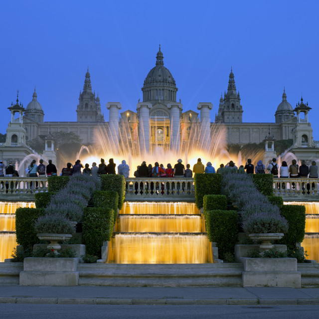 """""""Fountains in front of the National Museum of Art, Plaza d'Espanya, Barcelona,..."""" stock image"""
