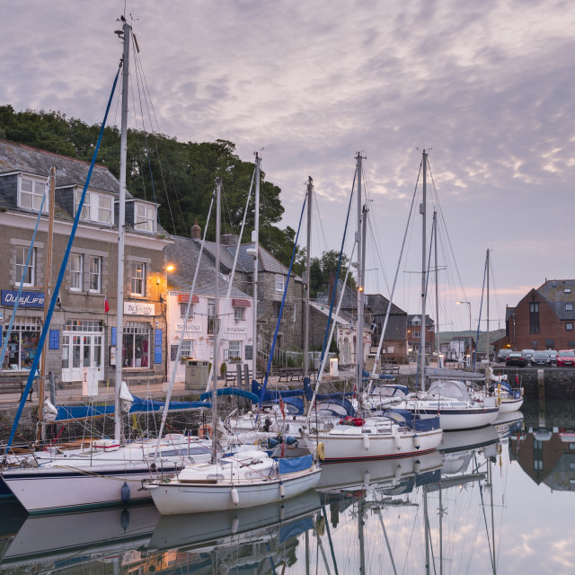"""""""Yachts moored in Padstow harbour at dawn, Padstow, North Cornwall, England."""" stock image"""