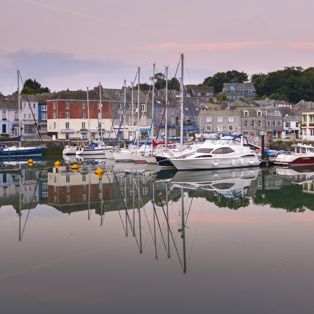 """""""Padstow harbour at dawn, North Cornwall, England."""" stock image"""