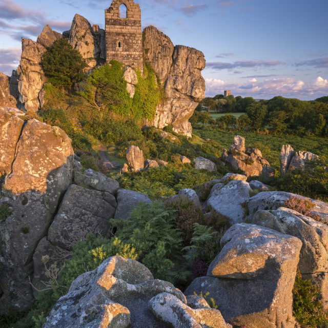 """15th Century ruined chapel on top of Roche Rock, Roche, Cornwall, England...."" stock image"