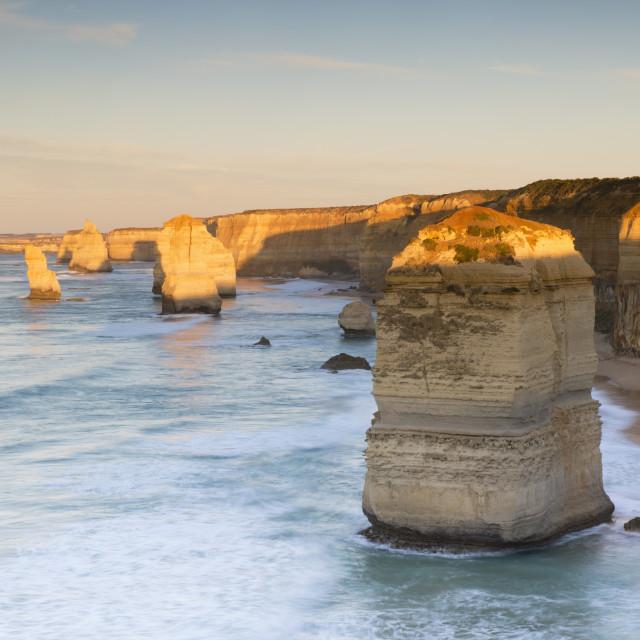 """""""Twelve Apostles at dawn, Port Campbell National Park, Great Ocean Road,..."""" stock image"""